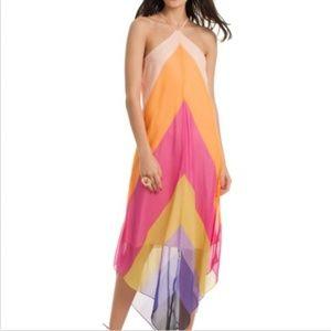 New Trina Turk Hummingbird Silk Halter Maxi Dress